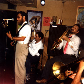 Rebels without applause, THE KLEZMORIM perform as THE KLINGONS at La Val's Subterranean, Berkeley, California, 1981. Electric guitar: David Julian Gray. Trumpet: Brian Wishnefsky. Alto sax: Lev Liberman. Trombone: Kevin Linscott. Not pictured: Donald Thornton and John Raskin.