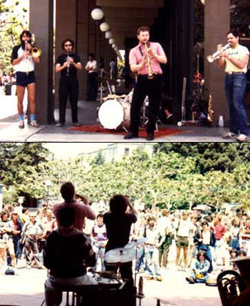 THE KLEZMORIM busk incognito in Sproul Plaza, UC Berkeley, c. 1981. Top, L to R: Kevin Linscott, David Julian Gray, Lev Liberman, Brian Wishnefsky. Not pictured: John Raskin, Donald Thornton. [Photo: Norma O. Lynch]