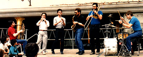 THE KLEZMORIM rock the locals in Tübingen, Germany, 1986. L to R: Donald Thornton, Chris Leaf, Ben Goldberg, Lev Liberman, Kevin Linscott, Ken Bergmann. [Photo: Somebody in Germany]