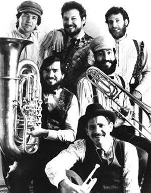 THE KLEZMORIM, mid-1983. Top, L to R: Tom Stamper, Lev Liberman, David Julian Gray. Middle, L to R: Donald Thornton, Kevin Linscott. Bottom: Brian Wishnefsky. [Photo: Rick Foster]